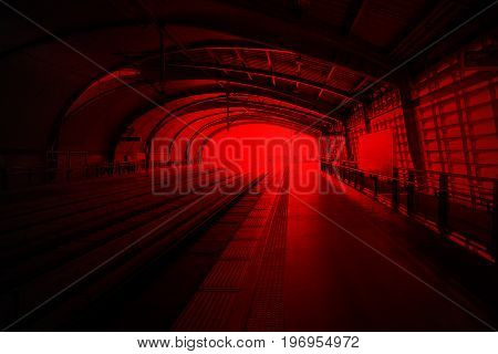 Image of train station red and black color tone, background wallpaper for game.