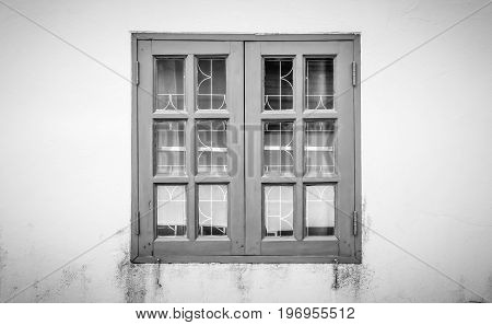 Black and white windows frame on grunge or dust background. Classic windows frame. Monochrome windows frame for design. Windows frame cinematic background
