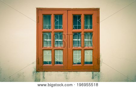Brown windows frame on grunge or dust background. Vintage windows frame. Classic windows frame for design. Windows frame cinematic background