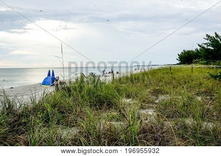 Overcast day on the beach of western Florida