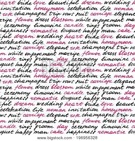 Lettering hand drawn seamless pattern. Black and pink words on the theme of wedding.