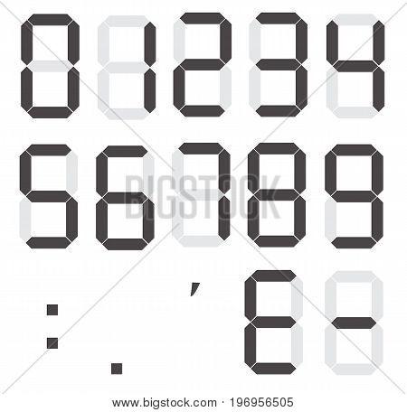 set of calculator digital numbers. electronic figures. LCD digital number.