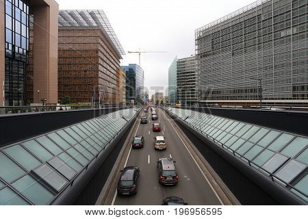 Brussels, Belgium - July 17, 2017: Traffic on central street of Brussels. Loi street in Brussels in the morning.