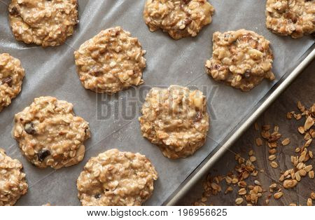 Healthy homemade banana and oatmeal cookies dough before baking. Ready to Bake