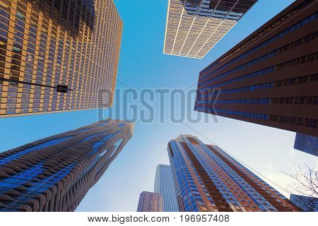 Skyscrapers In Chicago City With Blue Sky, Illinois, Usa
