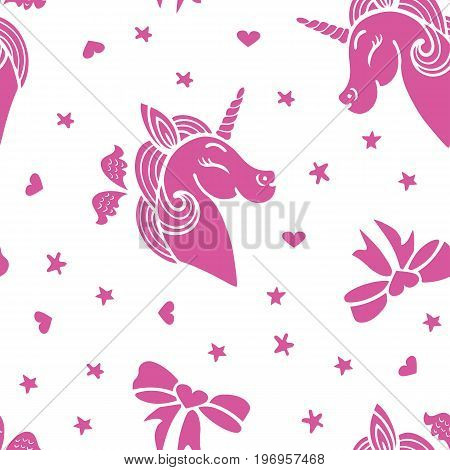 Cute seamless pattern with pink smiling unicorn, wings, ribbons and stars. Vector.