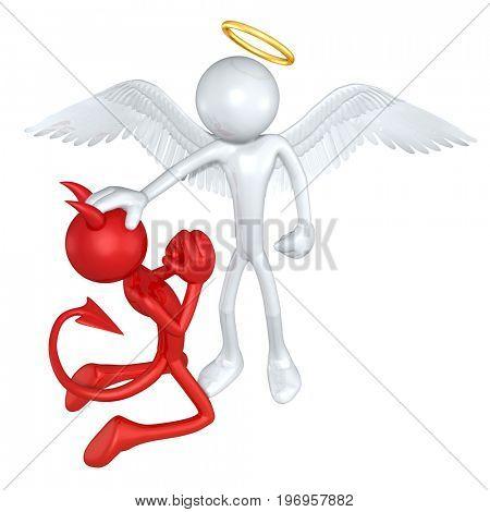 Angel Pardoning A Devil The Original 3D Characters Illustration