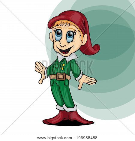 Vector illustration of a little gnome boy in a cap