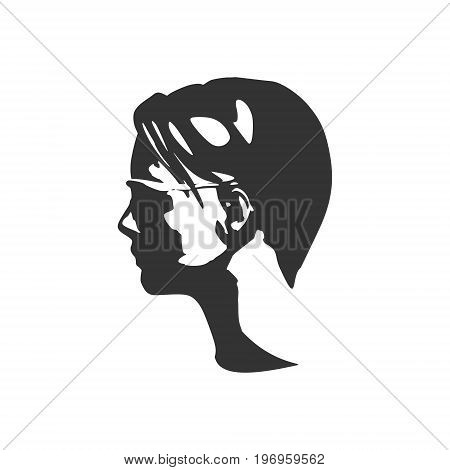 Portrait of beautiful woman in black sunglasses. Short hair. Side view