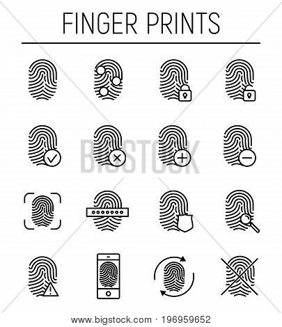 Set of fingerprint in modern thin line style. High quality black outline finger print symbols for web site design and mobile apps. Simple linear print pictograms on a white background.