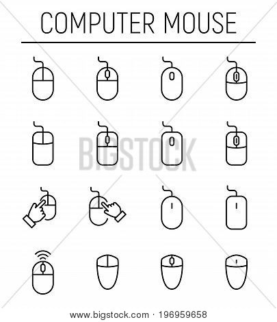 Set of computer mouse in modern thin line style. High quality black outline mouse symbols for web site design and mobile apps. Simple linear computer mouse pictograms on a white background.