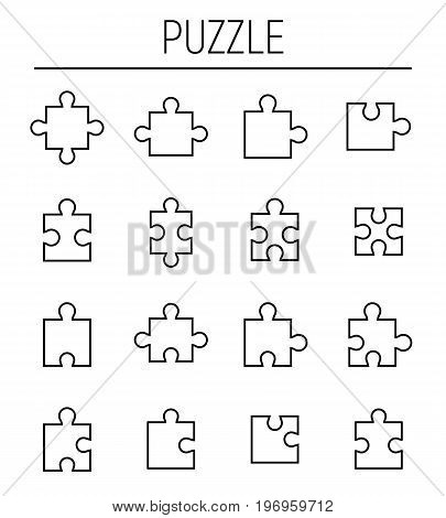 Set of puzzle in modern thin line style. High quality black outline jigsaw symbols for web site design and mobile apps. Simple linear puzzle pictograms on a white background.