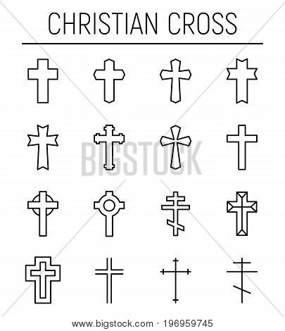 Set of christian cross in modern thin line style. High quality black outline cross symbols for web site design and mobile apps. Simple linear christian pictograms on a white background.