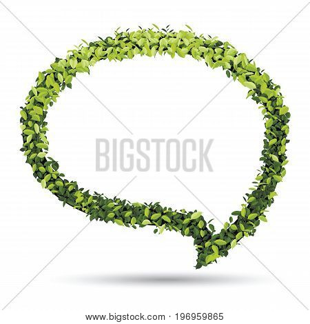 Bubble for speech with Green leaf. eco natural vector illustration.