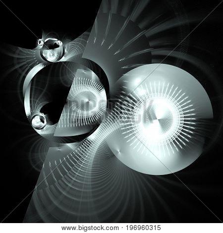 Abstract Fantastic Mechanism On Black Background. Digital Fractal Art. 3D Rendering.