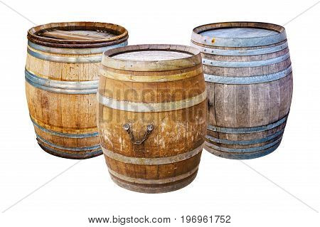 Groups old wooden barrel for champagne wine whiskey rum beer with steel ring on white background.