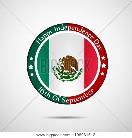 illustration of stamp in mexico flag background with Happy Independence Day 16th of September text on the occasion of Mexico Independence Day