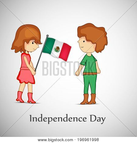 illustration of boy and girl holding Mexico flag with Independence Day text on the occasion of Mexico Independence Day