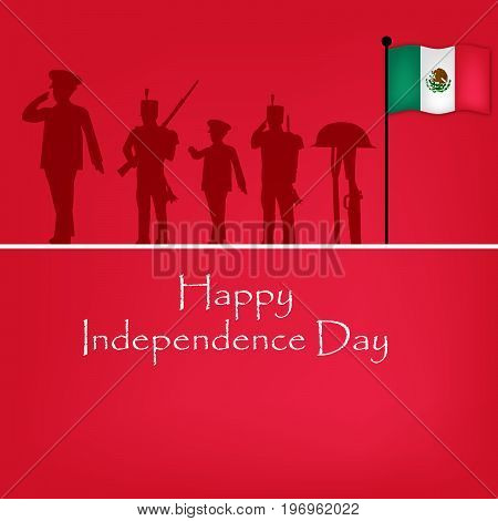illustration of soldiers, rifle in hat and Mexico flag with Happy Independence Day text on the occasion of Mexico Independence Day
