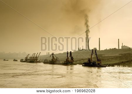 Air pollution subject picture the Yangtze River and China Sichuan