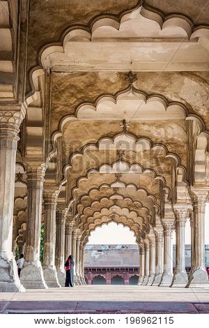 Agra Red Fort, a Unesco World Heritage site, and one of the biggest tourist highlights, just 2 km of Taj Mahal in the Indian city of Agra, Uttar Pradesh.