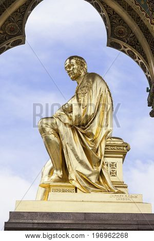 Prince Albert Memorial Kensington Gardens London United Kingdom. It was commissioned by Queen Victoria in memory of her husband opened in July 1872