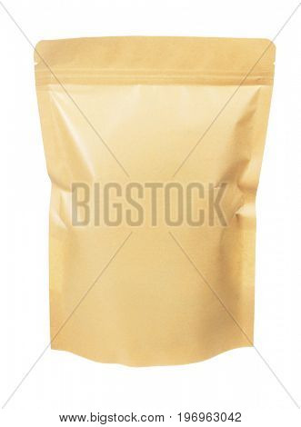 Sealed Craft Paper Pouch Bag on White Background