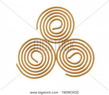 Three Oriental Praying Incense Coils on White Background