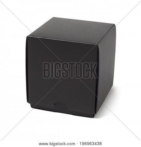 Black Paper Gift Box on White Background