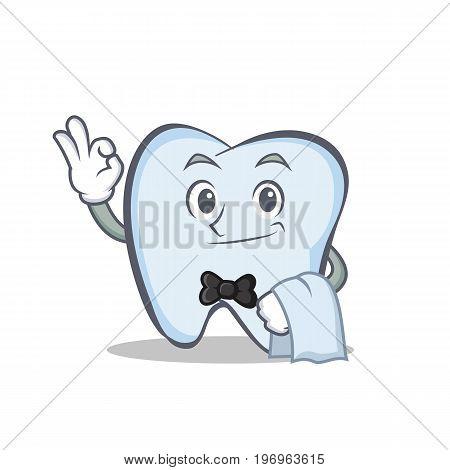 Waiter tooth character cartoon style vector illustration