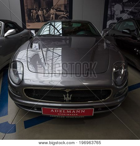 BERLIN - MAY 10 2015: A luxury coupe Maserati 3200 GTA (Tipo 338). 28th Berlin-Brandenburg Oldtimer Day