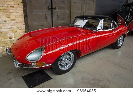 BERLIN - MAY 10 2015: British sports car Jaguar E-Type (Jaguar XK-E). 28th Berlin-Brandenburg Oldtimer Day