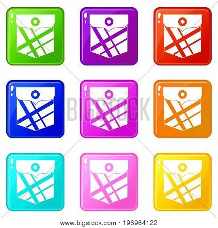 Black pocket patch icons of 9 color set isolated vector illustration