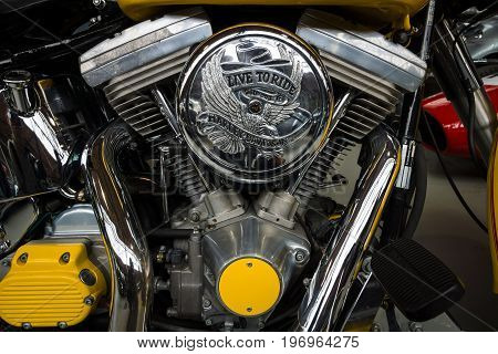 BERLIN - MAY 10 2015: The Harley-Davidson Twin Cam engine close-up. 28th Berlin-Brandenburg Oldtimer Day