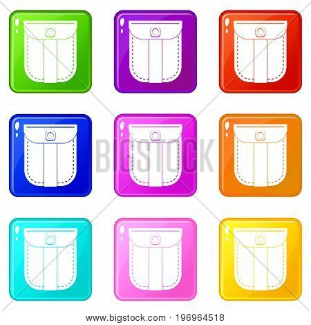 Fashion jeans pocket icons of 9 color set isolated vector illustration
