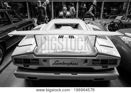 BERLIN - MAY 10 2015: A mid-engined supercar Lamborghini Countach LP 25th Anniversary 1990. Rear view. Black and white. 28th Berlin-Brandenburg Oldtimer Day