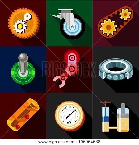 Mechanism icons set. Flat set of 9 mechanism vector icons for web with long shadow