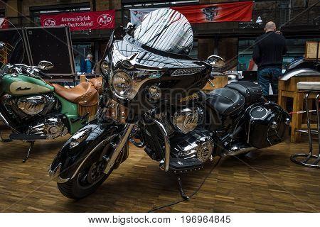 BERLIN - MAY 10 2015: Motorcycle Indian Chieftain (2014-present). 28th Berlin-Brandenburg Oldtimer Day