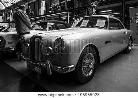 BERLIN - MAY 10 2015: British sports saloon Alvis TD 21 Mk I 1960. Black and white. 28th Berlin-Brandenburg Oldtimer Day