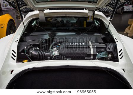 BERLIN - MAY 10 2015: Engine of a sports car Lotus Exige S Coupe close-up. 28th Berlin-Brandenburg Oldtimer Day