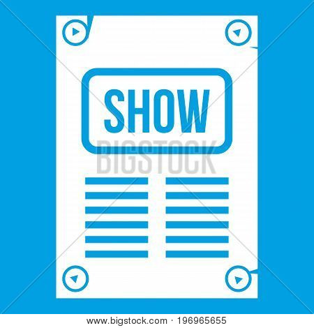 Poster icon white isolated on blue background vector illustration