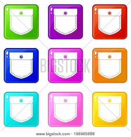 Black jeans pocket icons of 9 color set isolated vector illustration
