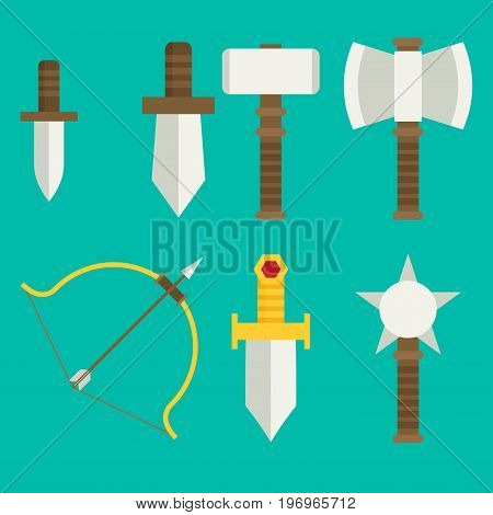 Vector Flat Game Icons Set. Medieval Weapons