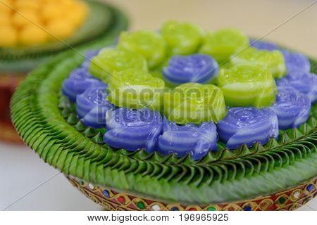 Layer Sweet Cake (khanom Chan) Thai Dessert In Rose Shape
