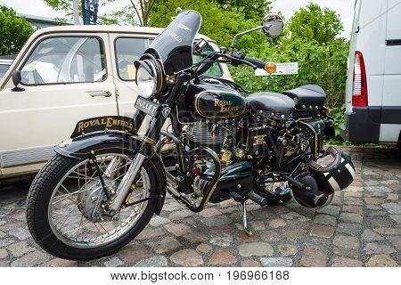 BERLIN - MAY 10 2015: Motorbike Royal Enfield Bullet 350 Classic. 28th Berlin-Brandenburg Oldtimer Day