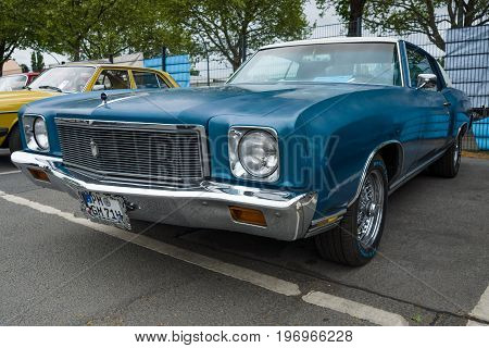 BERLIN - MAY 10 2015: Personal luxury car coupe Chevrolet Monte Carlo 1971. The 28th Berlin-Brandenburg Oldtimer Day