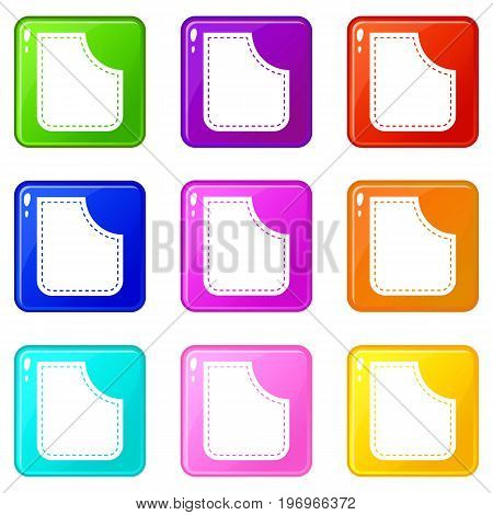 Abstract pocket icons of 9 color set isolated vector illustration