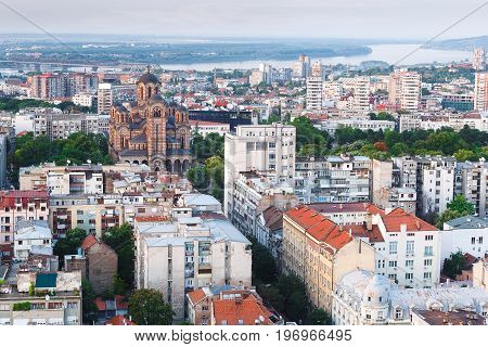 Aerial view of the St. Mark Church and Danube river  in old city of Belgrade, Serbia