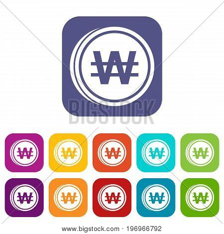 Coins won icons set vector illustration in flat style in colors red, blue, green, and other