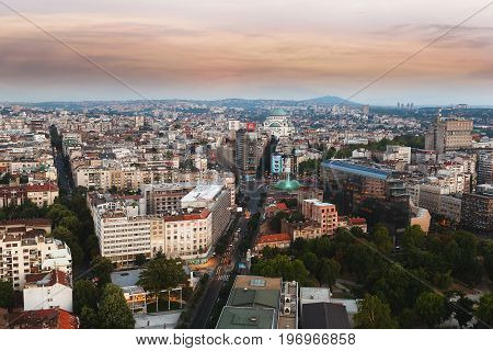 Belgrade, Serbia, July 22, 2017. Aerial view of old Belgrade, capital of Serbia withTemple of Saint Sava  in the background